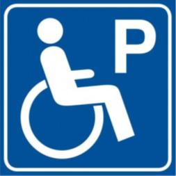 Logo parkingu dla osób niepełnosprawnych. Osoba na wózku i litera P.