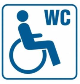 Logo toalety dla osób niepełnosprawnych. Osoba na wózku i napis WC