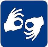 Logo języka migowego. Dwie ręce pokazujące znak migowy.
